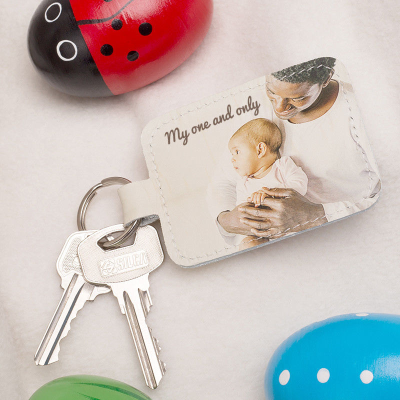 leather keyring personalized with message