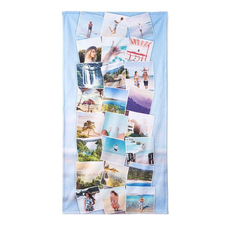 serviette de plage personnalisée avec photos   idée cadeau photo