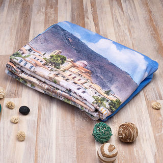Paysage en photo sur serviette de plage