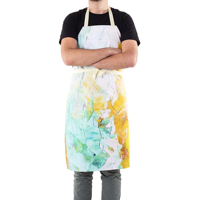 printed aprons with splatter design