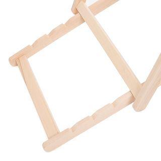 Reclining deck chair wooden frame detail