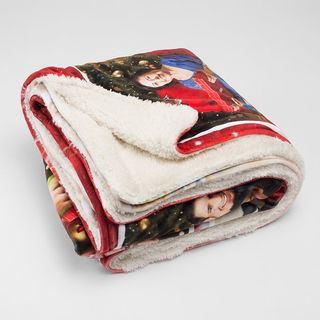 Fleece fabric Christmas design printed blanket