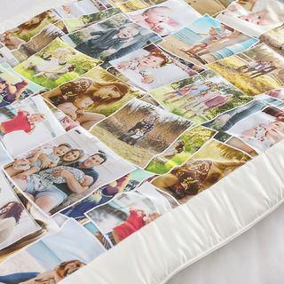 photo patchwork quilt stitching details