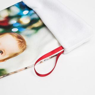 Zoom sur le ruban de la chaussette de Noël