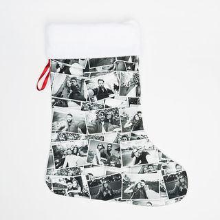 Chaussette de Noël imprimée avec montage photos en noir et blanc