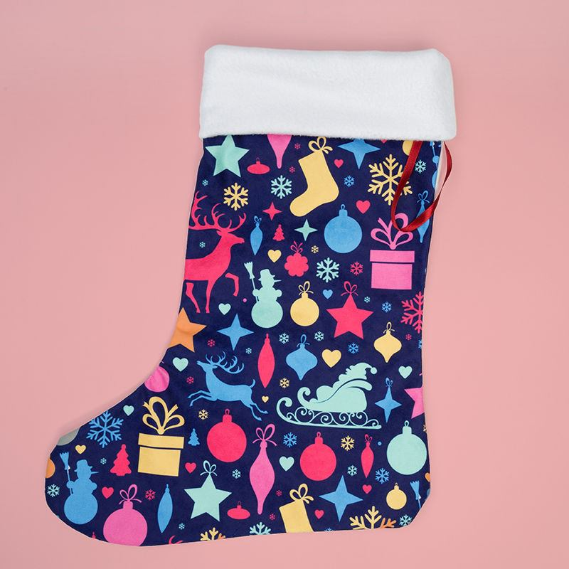make your own christmas stocking printed with festive icons and colour