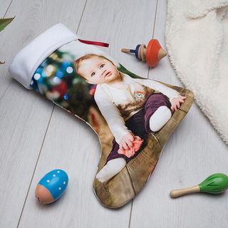 Chaussette de Noël avec photo de bébé