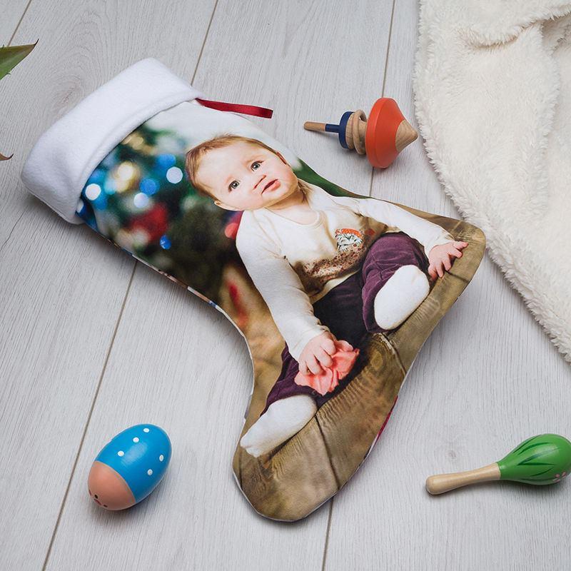 Weihnachtsstiefel mit Foto gestalten   Weihnachtsstrumpf bedrucken