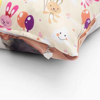 Luxury photo cushion zipper detail