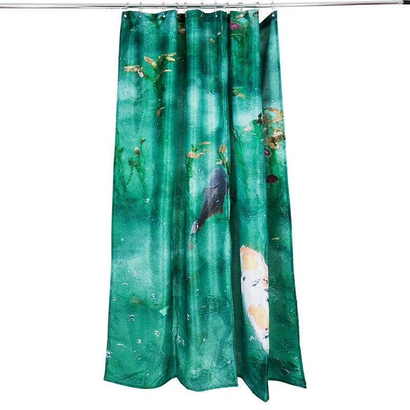 single panel shower and bathroom curtains