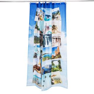 Shower curtain bunched up on rail