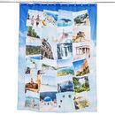 Shower curtain medium length travel montage