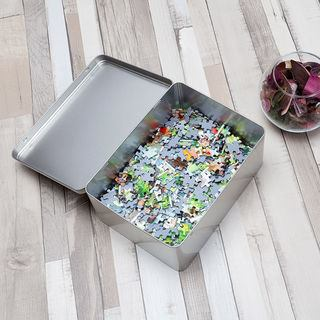 Large Tin for 100 piece Jigsaw puzzle tin hinge lid