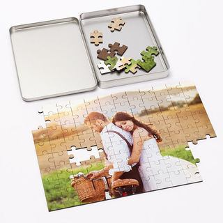 lovers photo jigsaw with stylish metal presentation tin