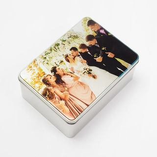 biscuit tin personalised with wedding photo