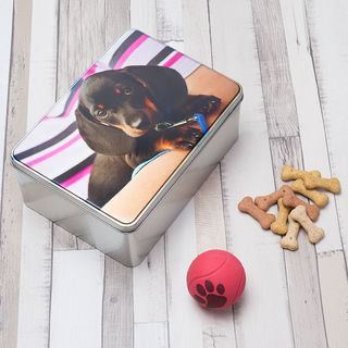 custom tin for dog biscuits printed with pet photo