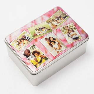 biscuit tin custom printed with sweet photo collage