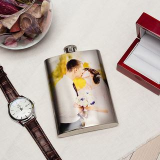 Wedding photo hip flask present personalsed flask