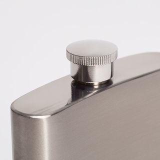 Lid and top of personalised metal hip flask