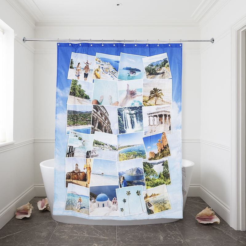 Prev Shower Curtain Travel Montage Style Design