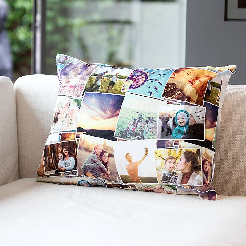 collage printed personalised cushions on living room sofa