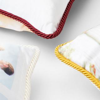 silk cushions with luxury rope braid trim option in 3 colors