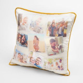 silk cushions with photo collage and honey gold rope braid trim
