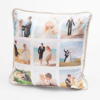 silk cushions UK wedding montage with stylish ivory trim