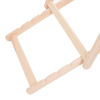 Wooden frame deckchair detail