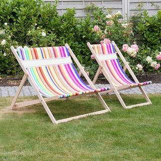 Double and Single striped deckchairs