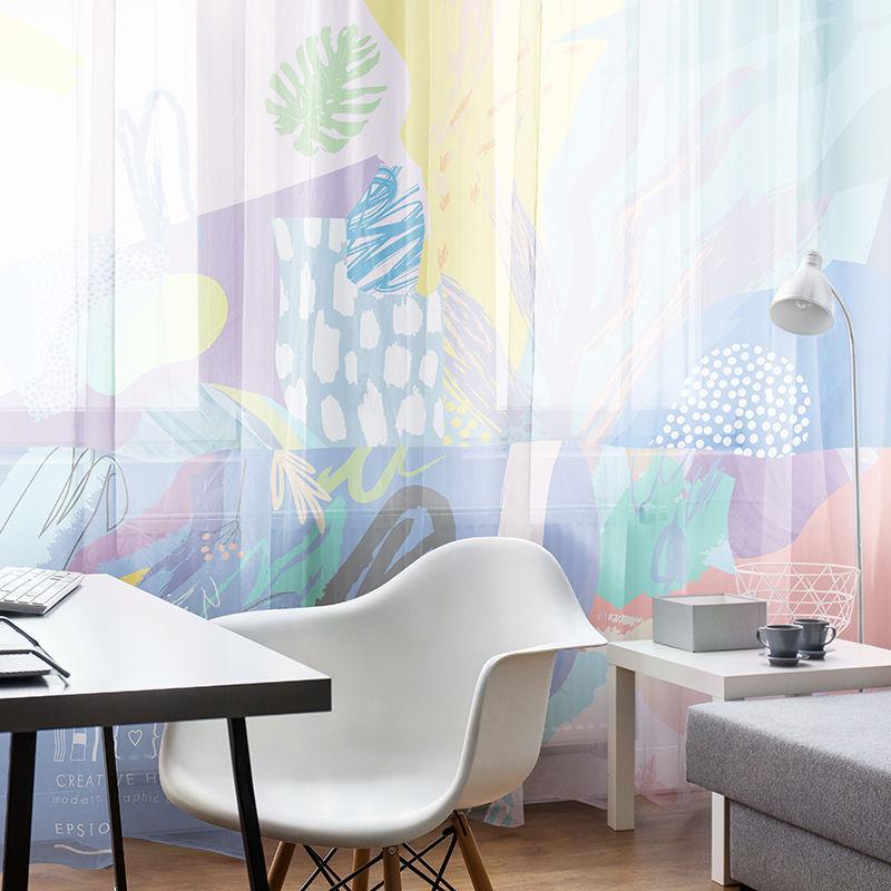 voilage imprim voilage design avec agrafes ou passe. Black Bedroom Furniture Sets. Home Design Ideas