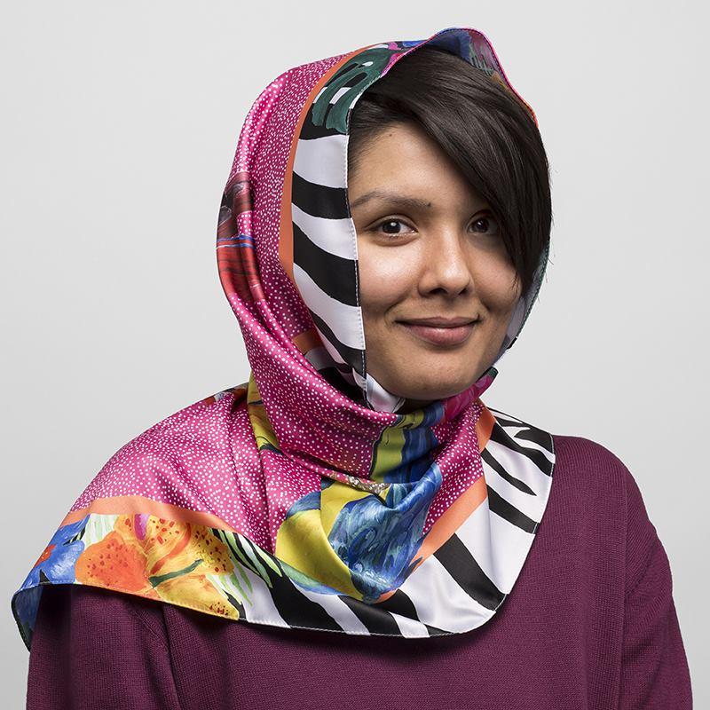 custom hijab with vibrant tropical print
