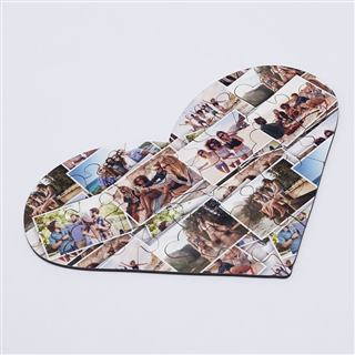 Photo montage design printed heart jigsaw