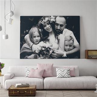 Toile photo noir et blanc famille