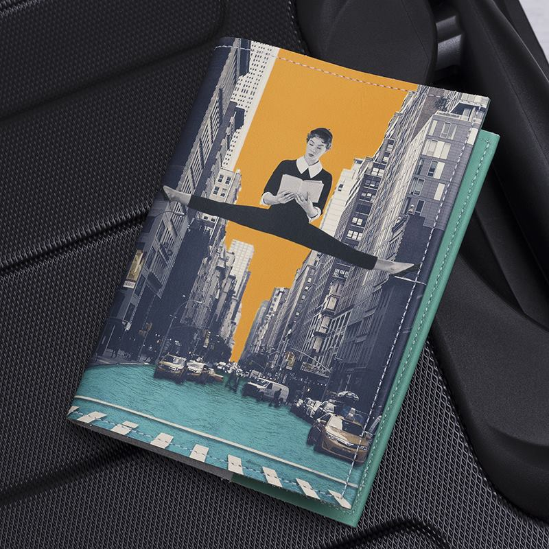 leather passport cover design colourful black and white