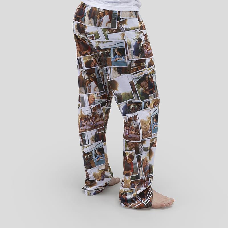 Personalized Blue XS Pixelated Chevron Mens Pajama Pants
