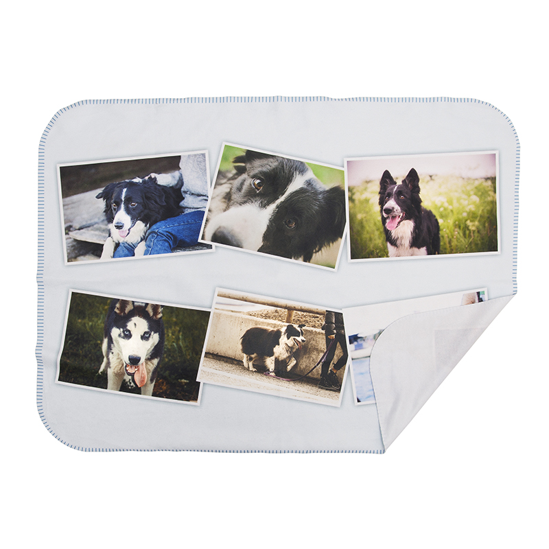 personalised dog blanket printed with photo collage