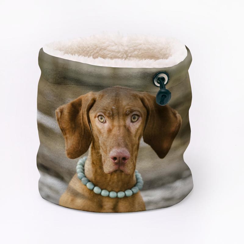 Sherpa fleece neck warmer with dog photo