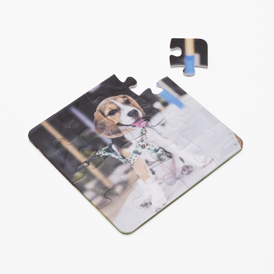 dog photo printed onto plastic jigsaw