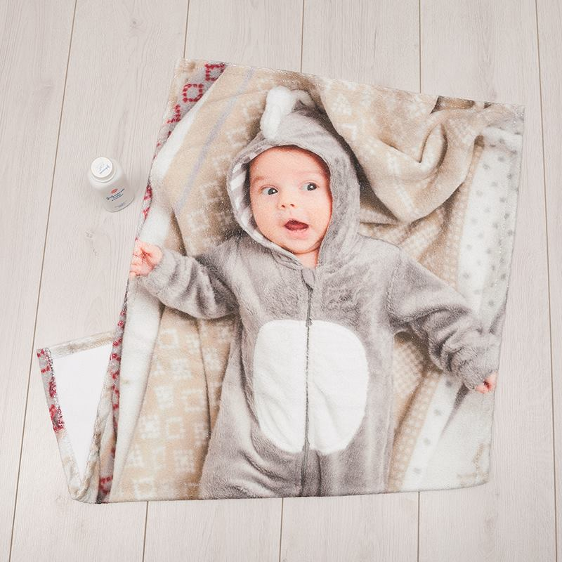 personalised baby towel printed with family photos