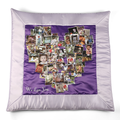 personalised eiderdown duvet with heart montage