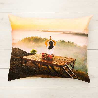personalised meditation cushion with pictures