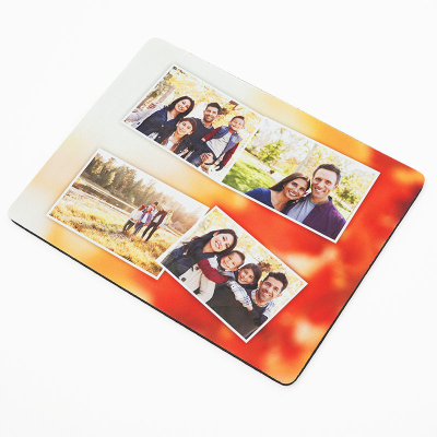 photo collage mouse mat with orange background