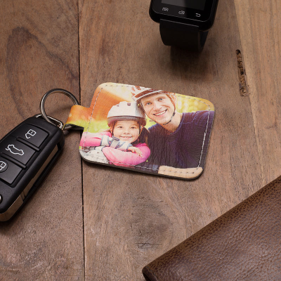 leather photo keyring new fathers gifts