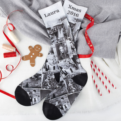 collage socks in black and white
