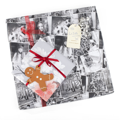 collage gift wrap in black and white