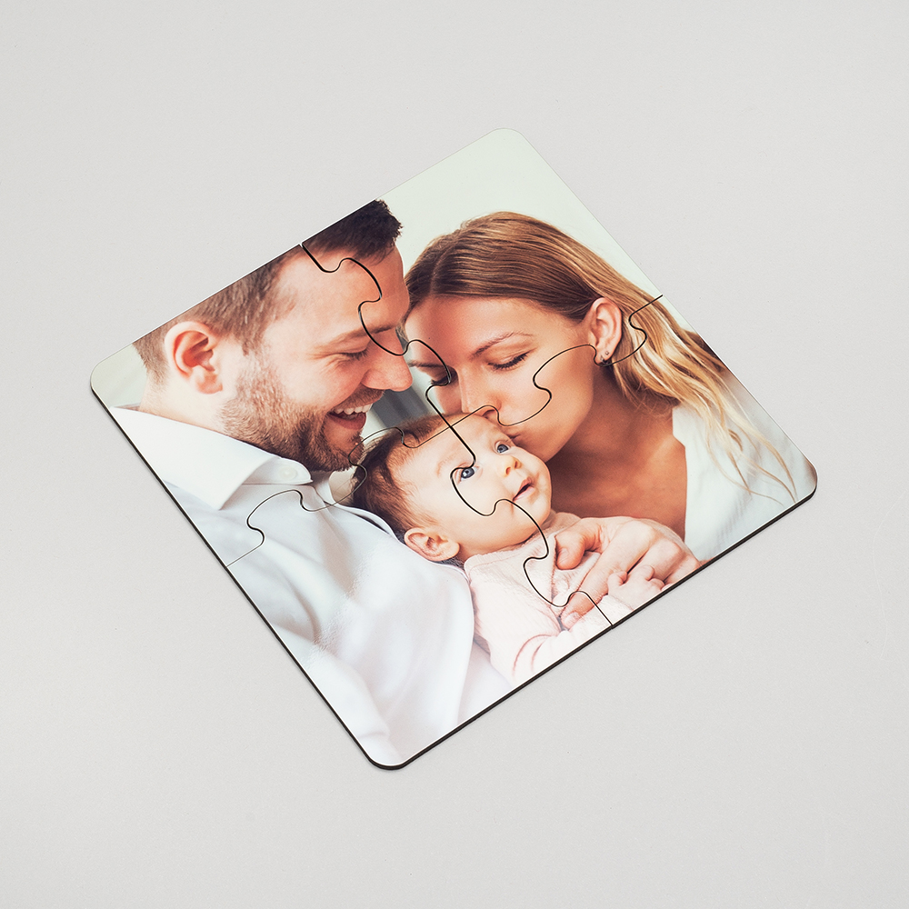 personalized photo jigsaw coaster