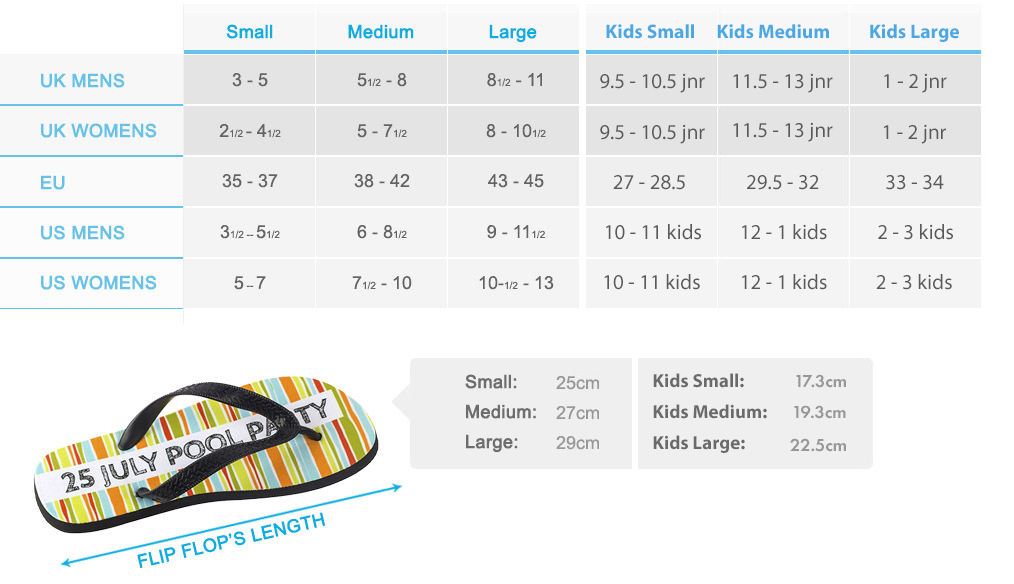personalised flip flops size chart - Bags of Love