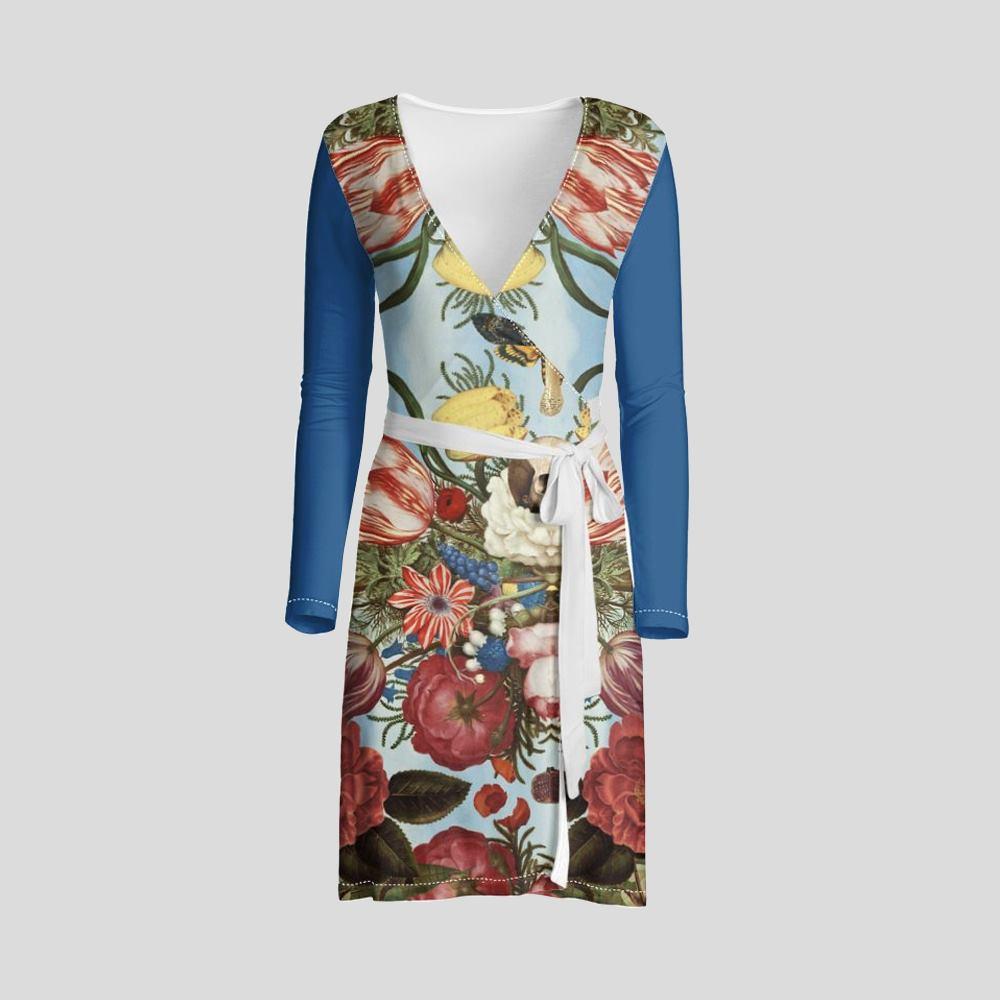 custom long sleeve wrap dress
