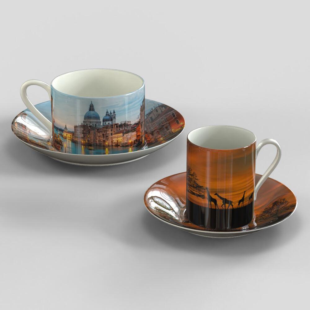 Personliga kaffekoppar med tefat